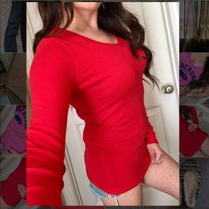 Cynthia rowley red super soft longsleeve top M